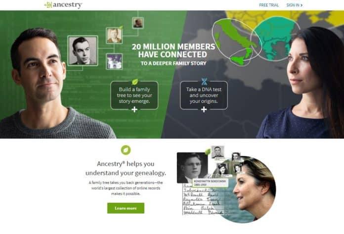 Ancestry.coms hjemmeside
