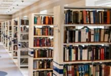 Bøker i bokhyller